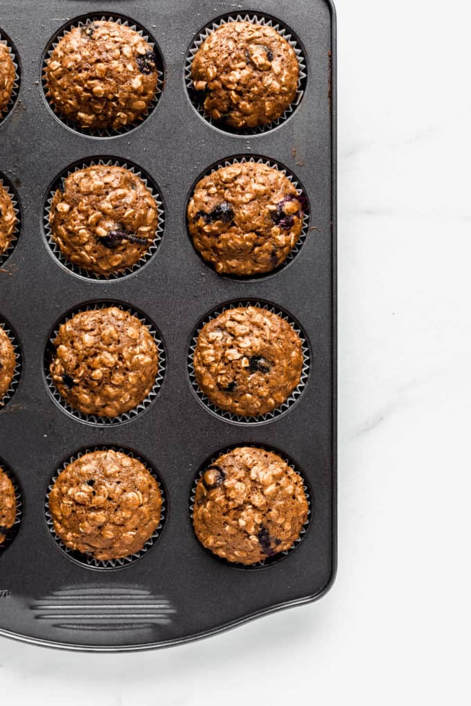 blueberry muffins n a muffin pan