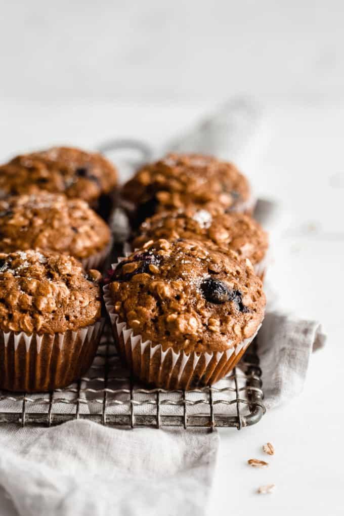 Blueberry muffins on a grey napkin