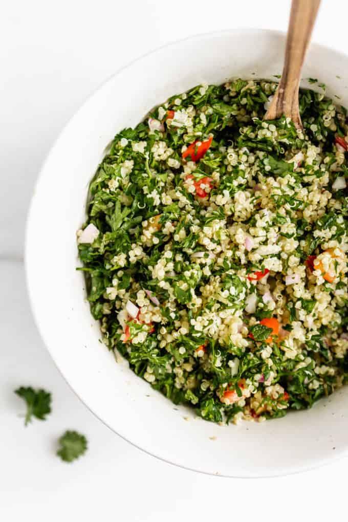 A bowl of quinoa tabbouleh salad