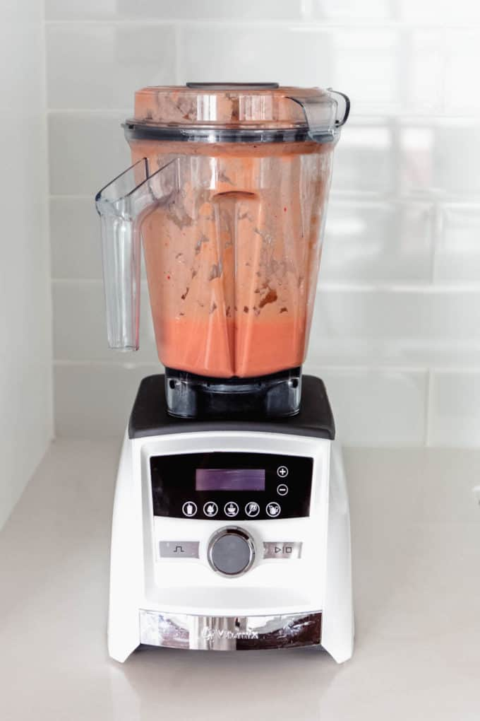 a strawberry mango smoothie in a blender