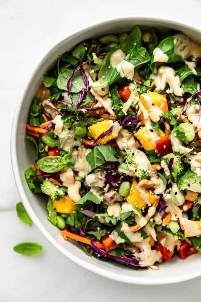 Thai Crunch Salad drizzled with sesame drssing