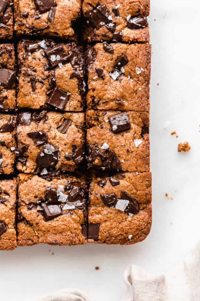 Almond butter blondies with chocolate chunks and sea salt on top