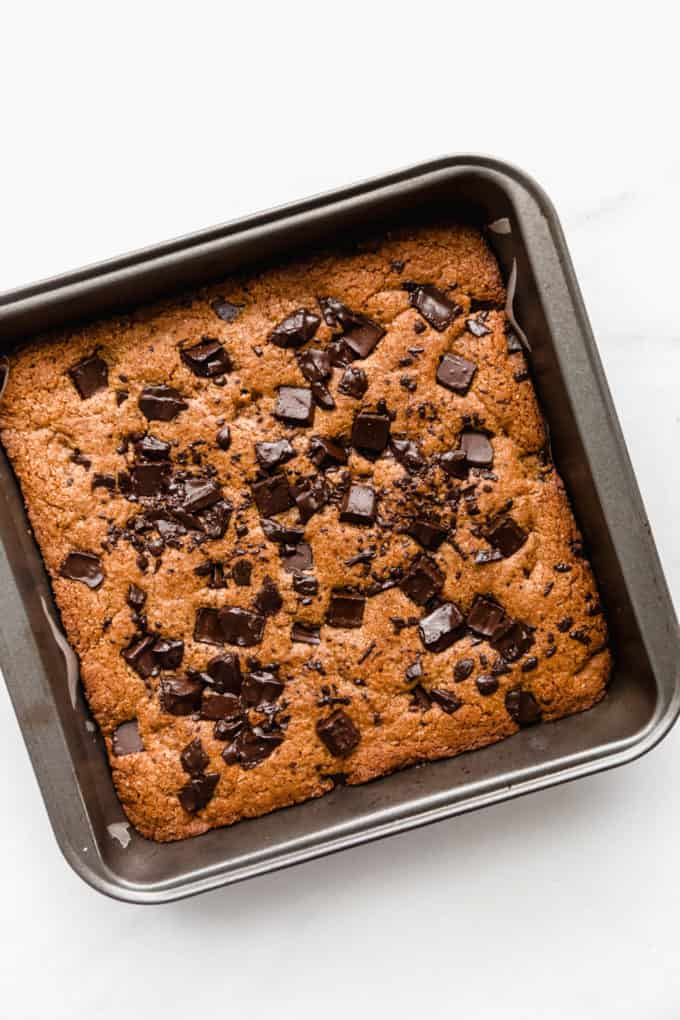 Baked Almond Butter Blondies in a pan