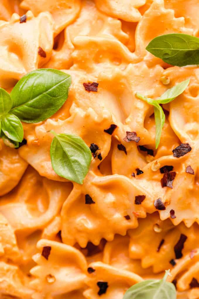 A close up of vegan vodka pasta