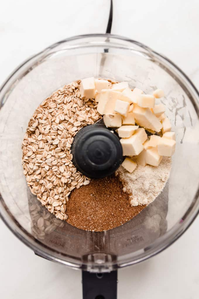 butter, oats, coconut sugar and almond flour in a food processor