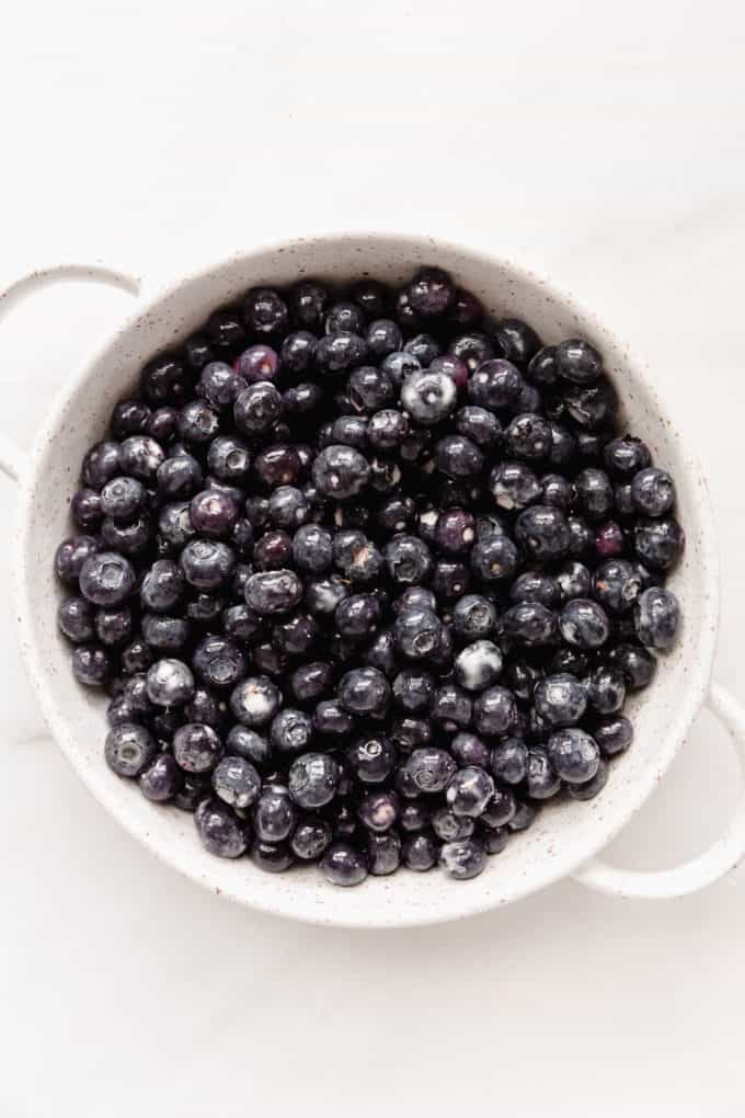 blueberries in a white baking dish