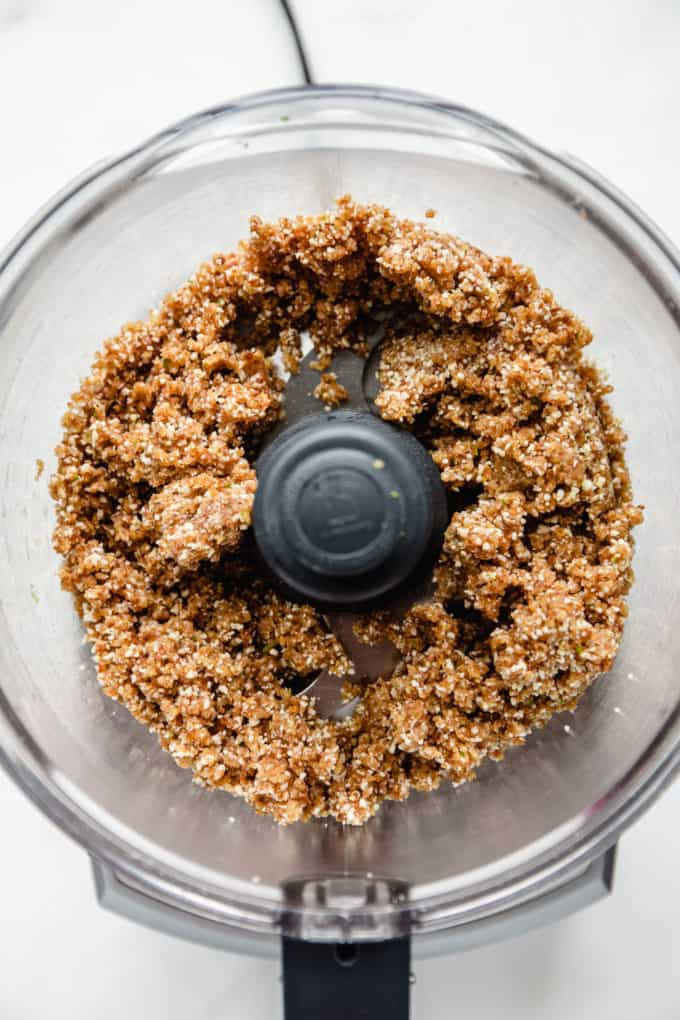 key lime energy ball mixture in a food processor