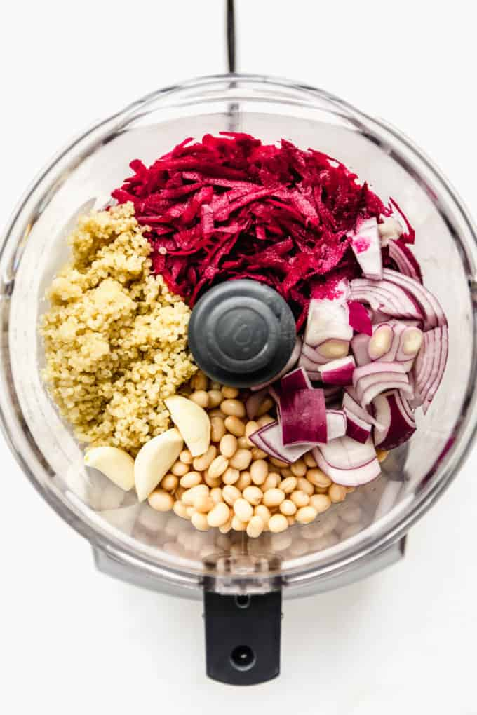 beets, quinoa, onions, garlic and white beans in a food processor