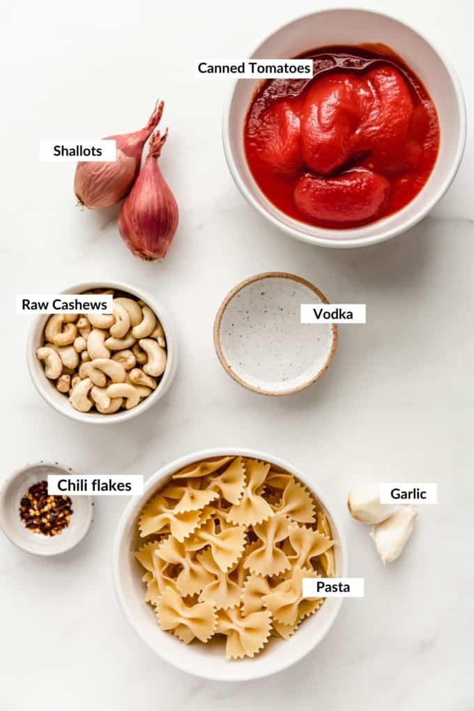 A flat lay of ingredients to make vegan vodka pasta
