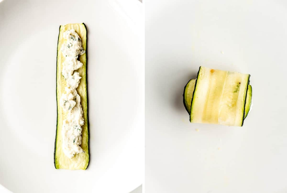 A slice of zucchini with ricotta stuffing in it