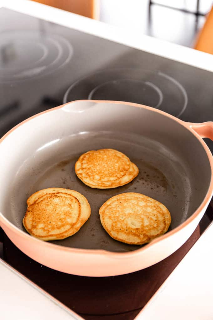 cooked almond flour pancakes in a pan