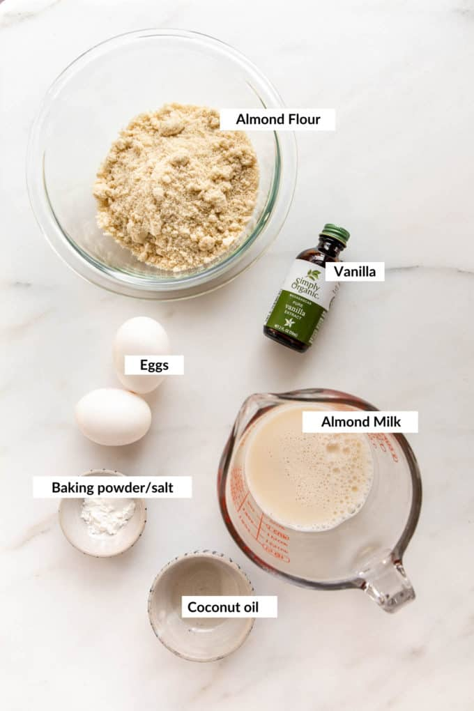 A flat lay of ingredients for almond flour panackes