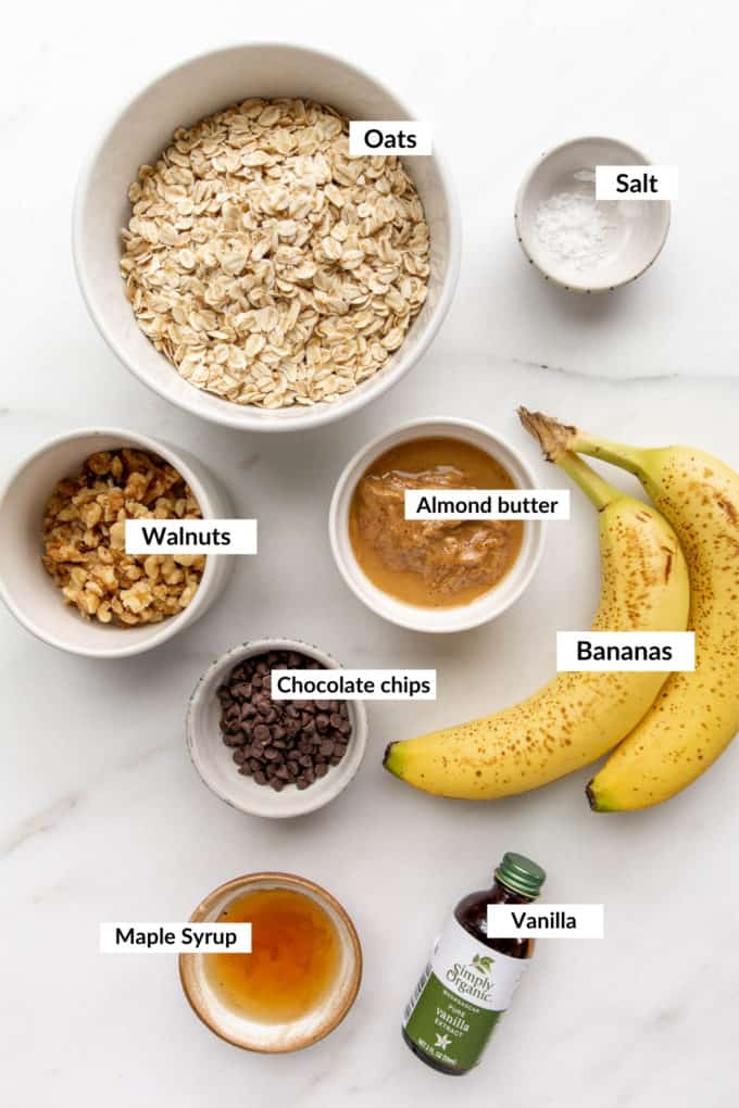 A flat lay of ingredients to make oatmeal banana cookies