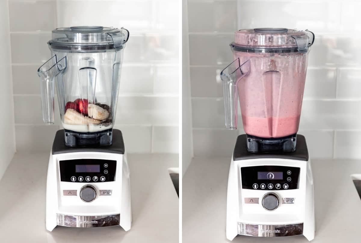 a before and after of a chia seed smoothie blended