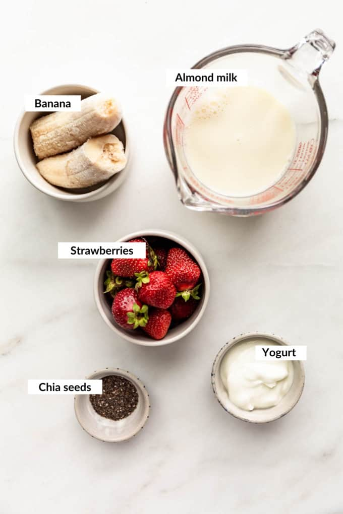 A flat lay of ingredients for a chia seed smoothie