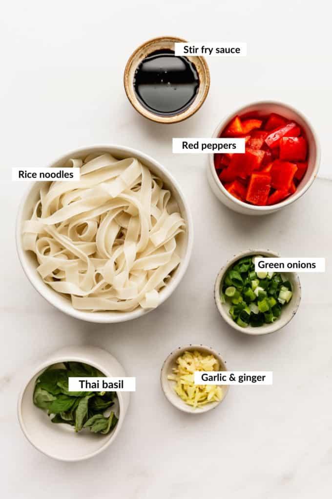 A flat lay of ingredients to make Thai drunken noodles