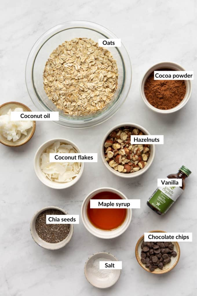 A flat lay of ingredients to make healthy chocolate granola