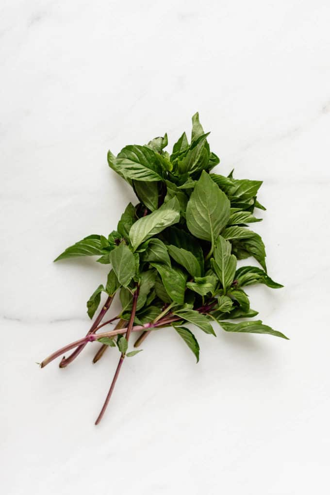 A bunch of Thai basil on a marble board