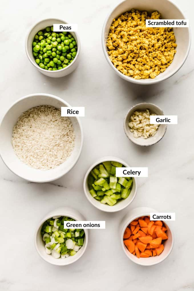 A flat lay of ingredients for vegan fried rice