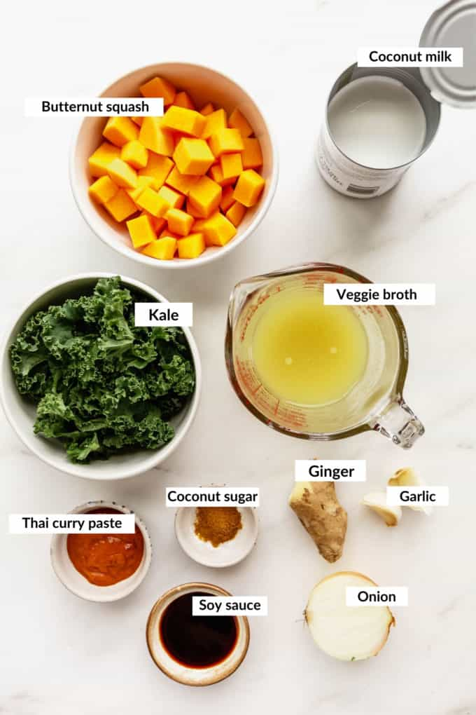 A flat lay of ingredients to make a butternut squash curry