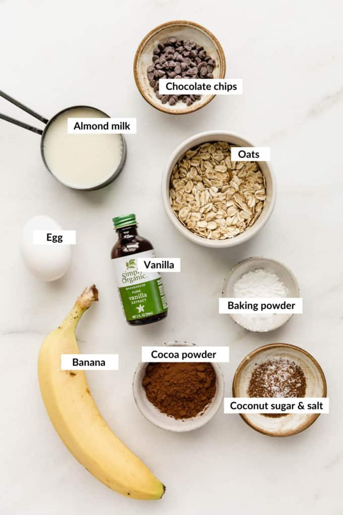 A flat lay of ingredients for chocolate baked oats