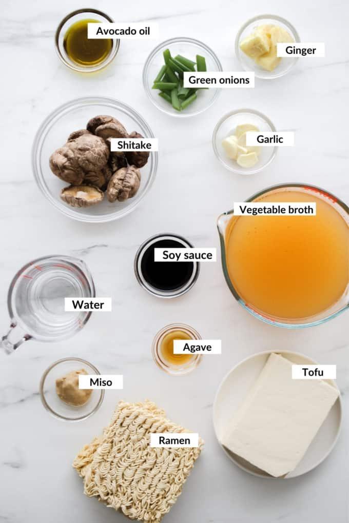 A flat lay of ingredients for vegan ramen