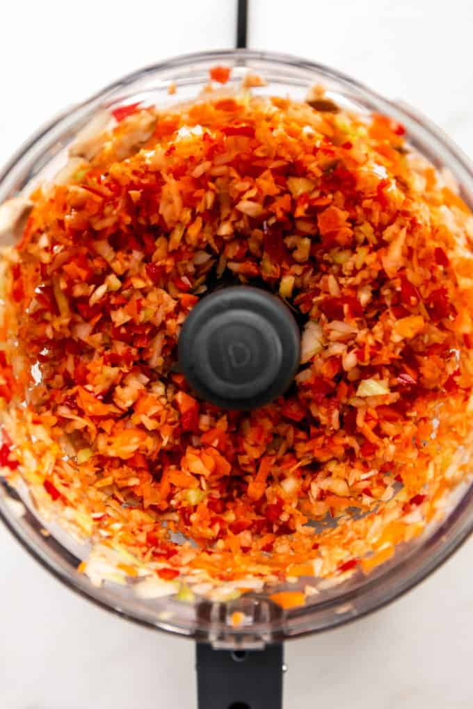 chopped vegetables in a food processor