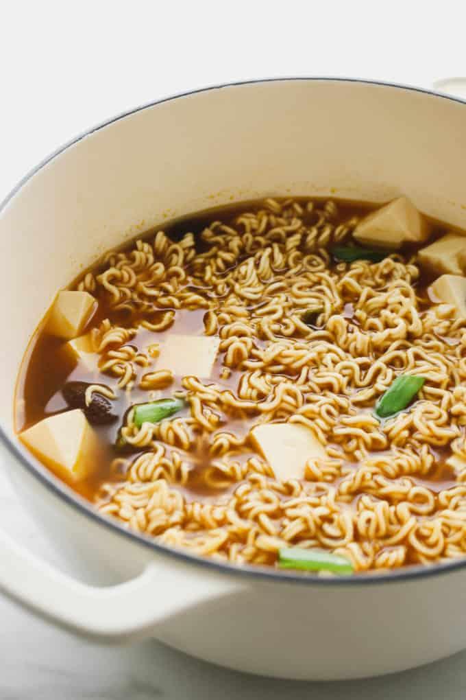 vegan ramen soup with tofu in a pot