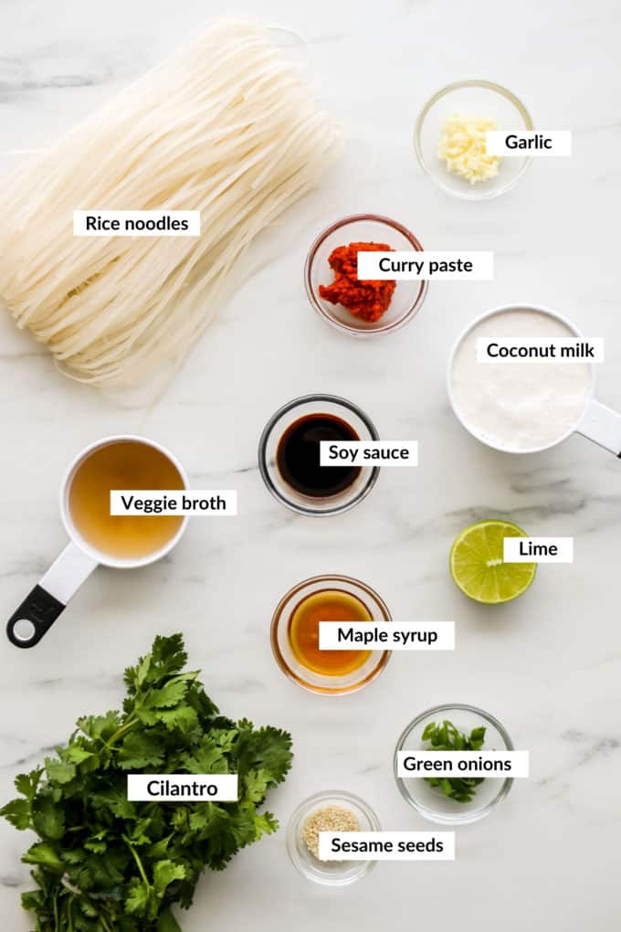 A flat lay of ingredients for Thai Red Curry Noodles