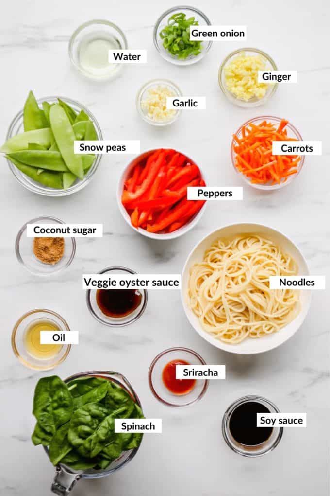 A flat lay of ingredients to make vegetable lo mein